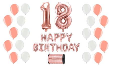 Zestaw Balonów na 18 urodziny - różowe złoto z białymi akcentami