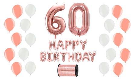Zestaw Balonów na 60 urodziny - różowe złoto z białymi akcentami